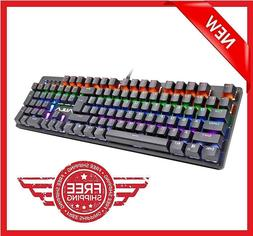 104 KEYS Backlit Mechanical Gaming USB Wired Keyboard LED Bl