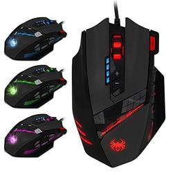 Zelotes 12 Programmable Buttons MMO Gaming Mouse,8 Adjustabl