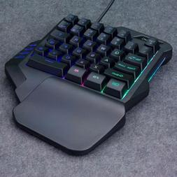 1pc RGB Backlit Single Hand Professional Mechanical Wired US