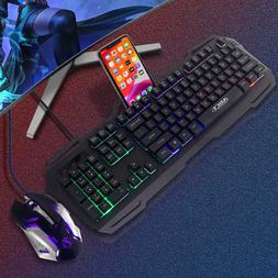 3200 DPI Gaming Keyboard & Mouse Combo Rainbow RGB Backlit L