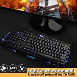 3 Color LED Illuminated Backlight USB Wired Gaming Keyboard