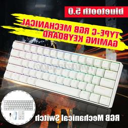 61 Keys 60% NKRO USB Wired bluetooth5.0 RGB Backlit Mechanic