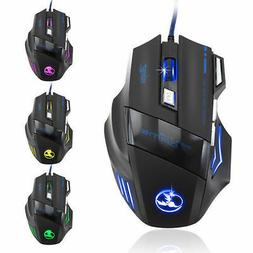 Top Seller 3200 DPI 7 Button LED Optical USB Wired Gaming Mo
