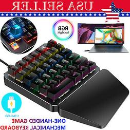 7 Color LED 35 Key One Hand Mechanical Gaming Keyboard Keypa