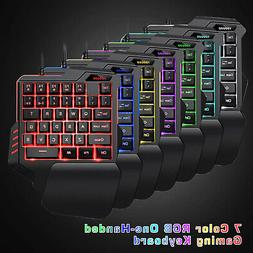7 Color RGB Backlit Gaming Mechanical One-Handed Keyboard Ga