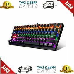 Mechanical Keyboard 87 Keys Small Compact Multicolour LED Ba