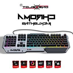 ONEXELOT Aluminum gaming keyboard, USB wired RGB backlit Rev