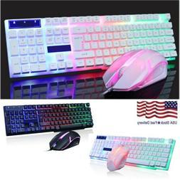 Backlit Computer Desktop Gaming Keyboard + Mouse Mechanical
