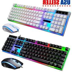 computer desktop gaming keyboard and mouse led