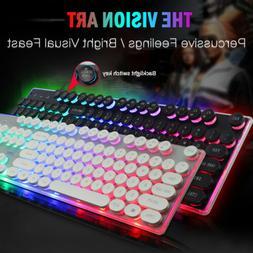 Computer Desktop Wired Gaming Keyboard Mechanical LED Light