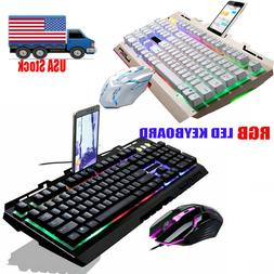 Computer Gaming Keyboard RGB LED Mouse Backlit Mechanical Fe