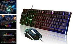 FLAGPOWER Gaming Keyboard and Mouse Combo, Rainbow Backlit M
