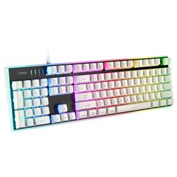 AUKEY Gaming Keyboard, 104-Key Mechanical-Look, Aluminum Pla