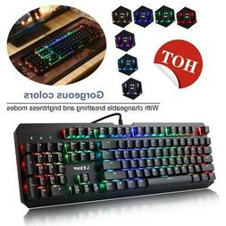 Gaming Keyboard 7 Color Backlit PC Mechanical Backlight Wire