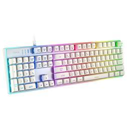 AUKEY Gaming Keyboard, 104-Key Mechanical-Look, Aluminum Pla
