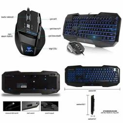 AULA gaming keyboard and mouse combo,LED 104 Keys USB Ergono