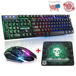 Gaming Keyboard & Mouse Combo Rainbow RGB Backlit LED Mechan
