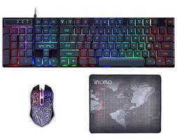 Gaming Keyboard and Mouse Mousepad Combo Mechanical Feeling