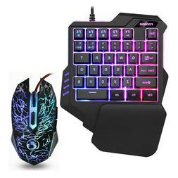 Gaming Keyboard and Mouse Set LED Backlight one-handed Keybo