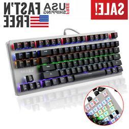 Gaming Keyboard 6 LED Illuminated Backlit PC Mechanical Feel
