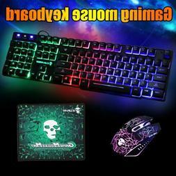 gaming keyboard mouse set rainbow led backlit