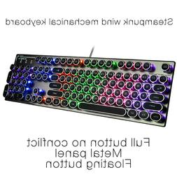gaming keyboard retro steampunk mechanical backlight keypad