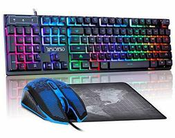 Gaming LED Wired Keyboard and Mouse Combo with Emitting Char