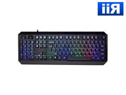Genuine Rii RK300 Multimedia Gaming Keyboard w/ 7 Adjustable