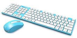 "Azio HUE 2 Matte-Blue USB Wireless 1"" Slim Keyboard+Mouse Co"