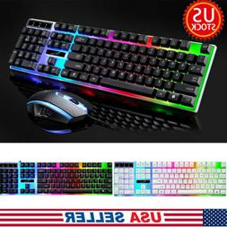 Keyboard and Mouse Set Gaming Rainbow Backlit Mechanical for