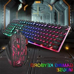 LED Light Computer Gaming Keyboard and Mouse Set Wired Backl