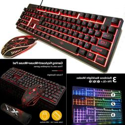 Keyboard Mouse Set Pad for PC PS4 PS3 Xbox One Gaming Rainbo