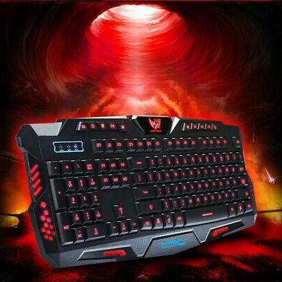 3 LED Illuminated Backlight USB Keyboard for PC U