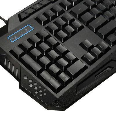 3 LED Illuminated Backlight USB Wired Keyboard PC