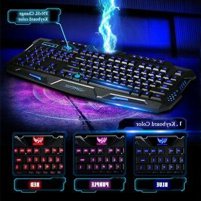 3 LED Illuminated Backlight USB Keyboard U
