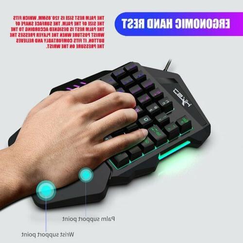 One Handed Mechanical Keyboard Backlit + Keypad For LOL/Dota PS3 PC