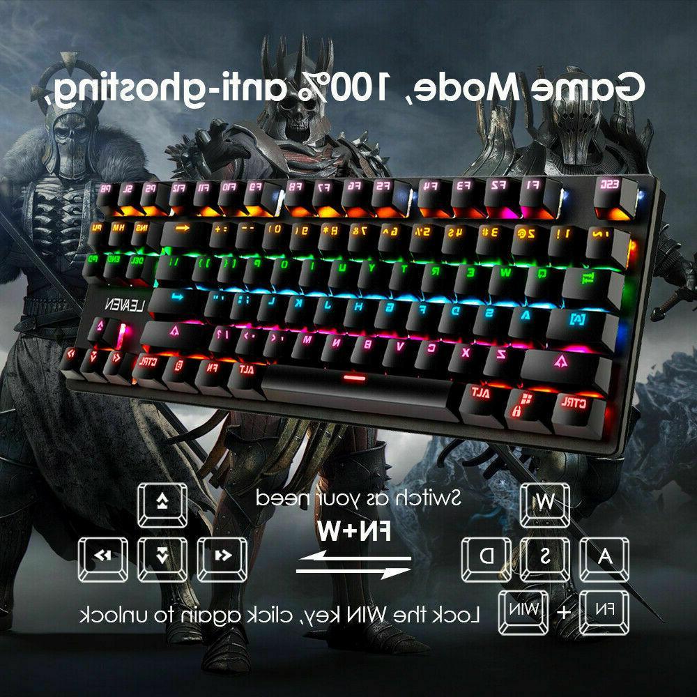 Mechanical LED Rainbow Wired Keyboard for Mac