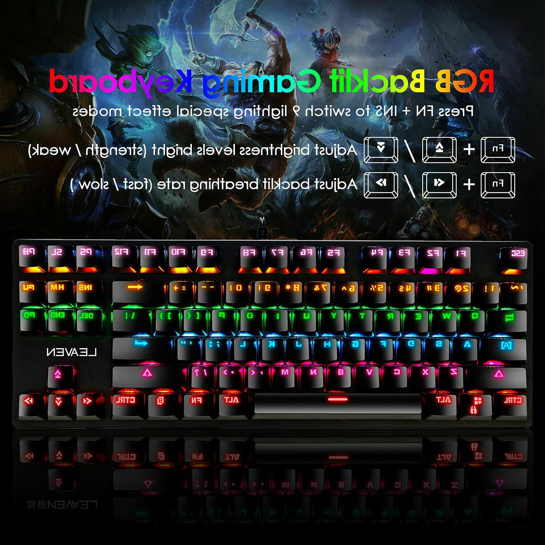 Mechanical Keyboard LED Rainbow Backlit Wired Keyboard Mac