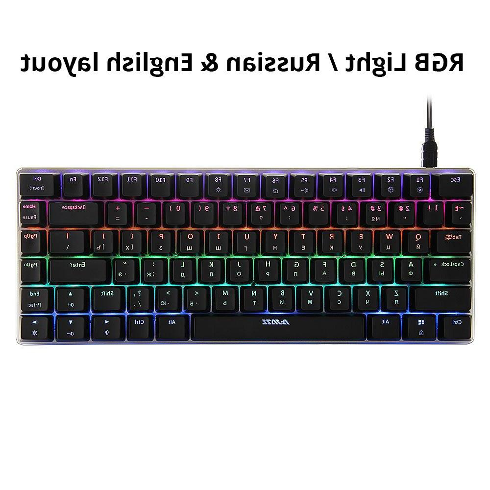 Ajazz AK33 82 <font><b>mechanical</b></font> <font><b>keyboard</b></font> / English layout <font><b>gaming</b></font> RGB blue / black <font><b>keyboard</b></font>