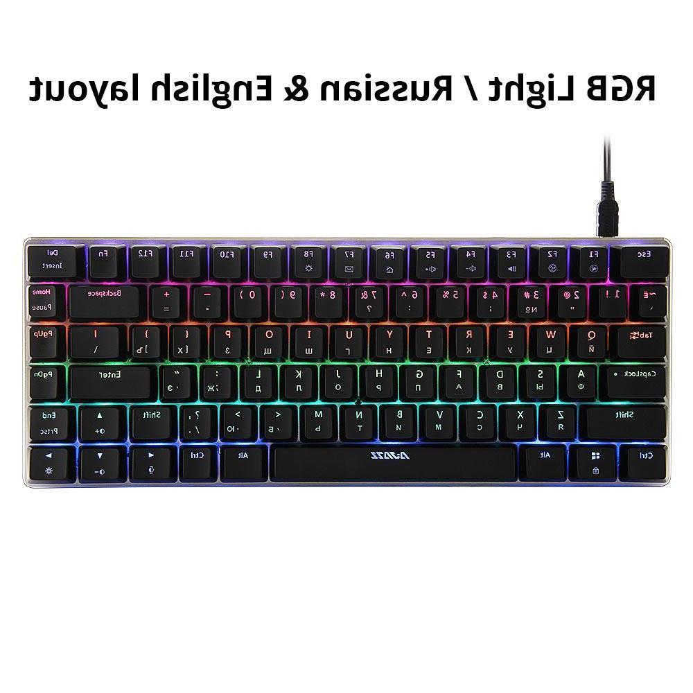 Ajazz AK33 82 <font><b>mechanical</b></font> <font><b>keyboard</b></font> / English layout <font><b>gaming</b></font> RGB blue / black <font><b>keyboard</b></font>