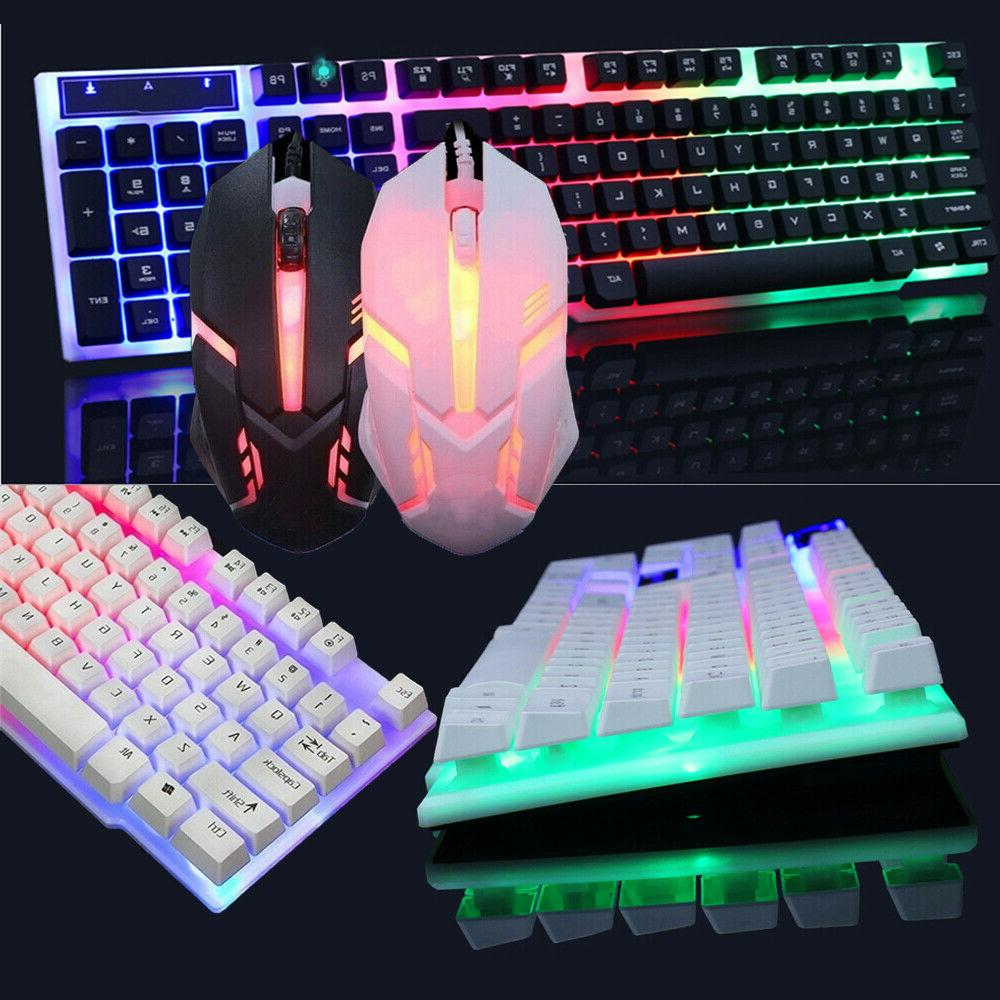 backlit computer desktop gaming keyboard mouse mechanical