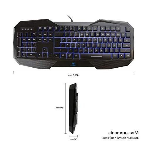 Backlit Gaming AULA Illuminated with Adjustable LED 104 Gaming, Office