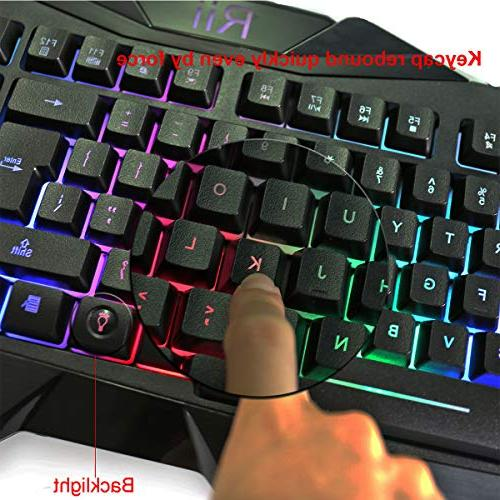 Rii Backlit Gaming Keyboard and LED Keyboard and Mouse Set with for and