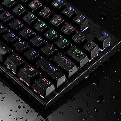 TOMOKO Backlit Mechanical Gaming Keyboard, Water-Resistant Blue Backlit