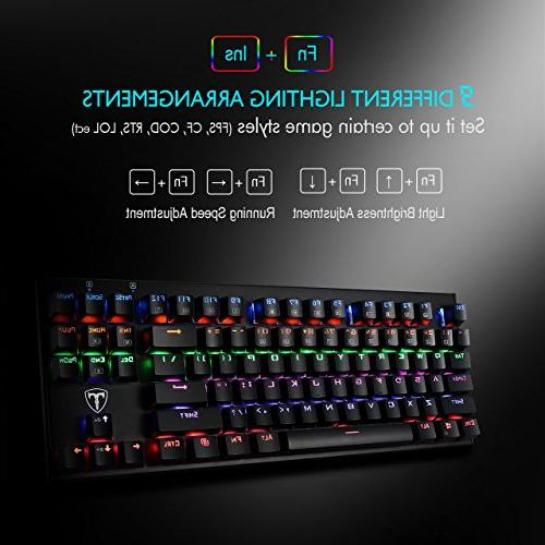 TOMOKO Backlit Mechanical Water-Resistant Keyboard with Blue Switches, Backlit Keyboard