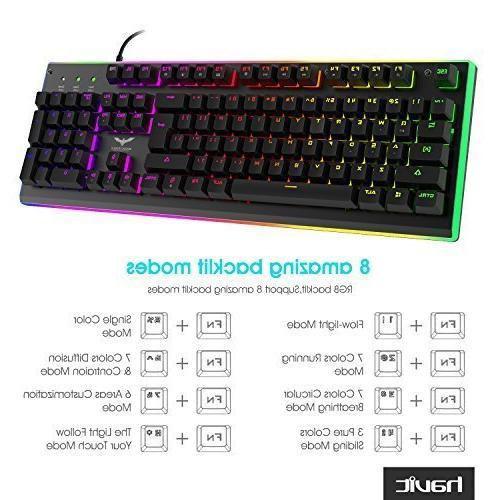 HAVIT Backlit Wired Membrane Gaming Keyboard, Mechanical-Similar Typing/Gaming Experience
