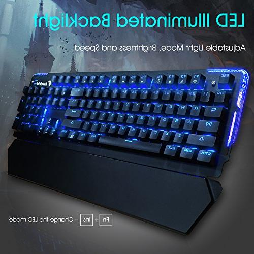 Kworld Mechanical Keyboard with Key Anti-ghosting Lighting and Wrist Rest for Mac, Black
