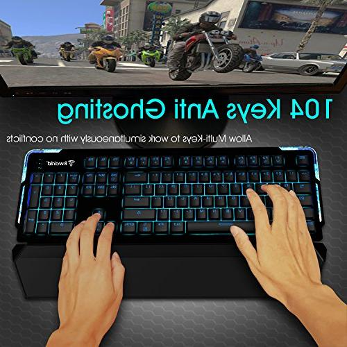 Kworld C420 Gaming Keyboard Blue with Blue Key with Lighting Effects and Rest for PC & Mac, Black