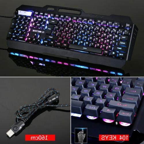 Computer Keyboard and Mechanical Led Light Backlit US