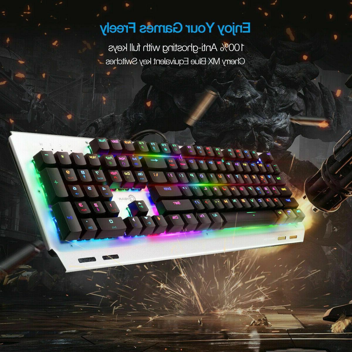 Ombar K676 RGB Gaming Keyboard 104 Key Mechanical LED Backli